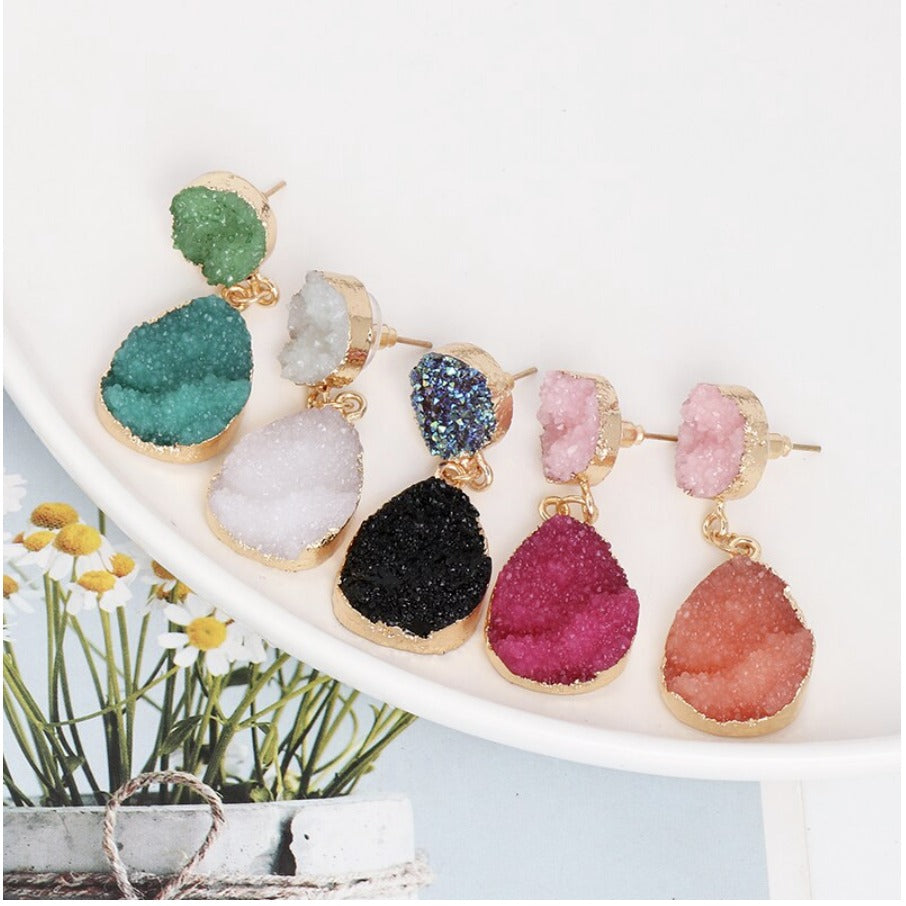 Pink Coral Gold Druzy Raw Stone Oval Drop Women's Fashion Earrings Party Chic