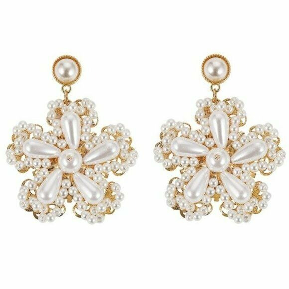 Gold Pearl Flower Baroque Large Retro Style Elegant Women's Drop Earrings Chic