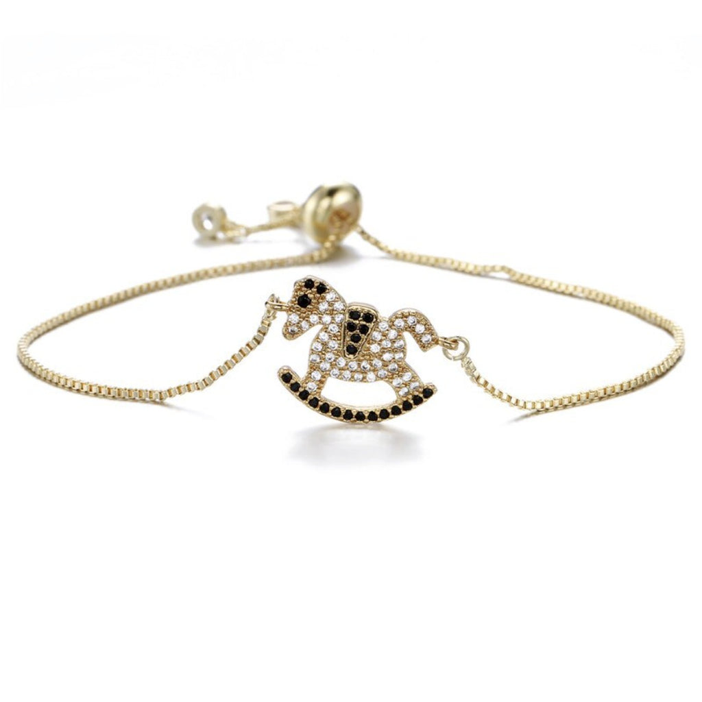 Gold Rocking Horse Cubic Zirconia Adjustable Bracelet
