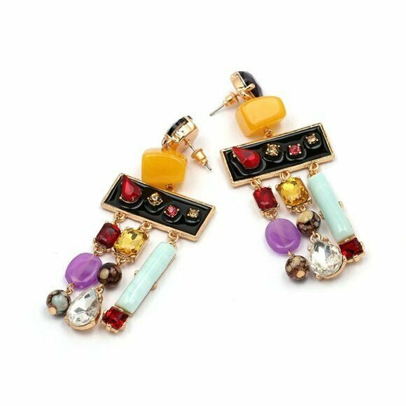 Multi Color Geometric Rhinestone Boho Retro Long Women's Fashion Earrings