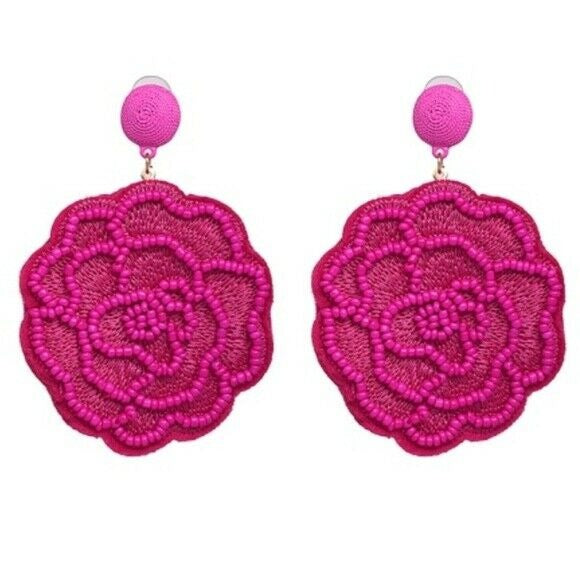 Magenta Pink Beaded Flower Large Statement Dangle Women's Fashion Earrings