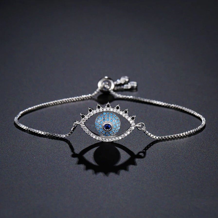 Silver Blue Pave Cubic Zirconia Evil Eye Cute Lash Boho Adjustable Bracelet
