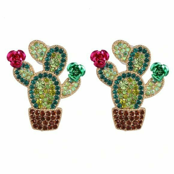 Red Green Rhinestone Cactus Rose Flower Fun Plant Women's Fashion Earrings
