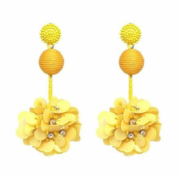 Yellow Beaded Sequin Flower Large Drop Women's Statement Earrings Nature Fun