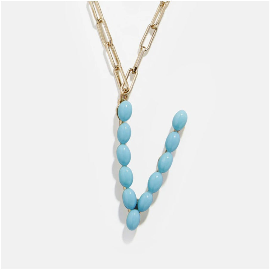 "Blue Bead Paper Clip Chain Initial Letter ""V"" Name Necklace"