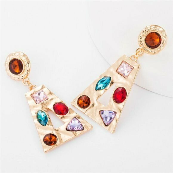 Large Gold Red Blue Rhinestone Baroque Triangle Women's Fashion Party Earrings
