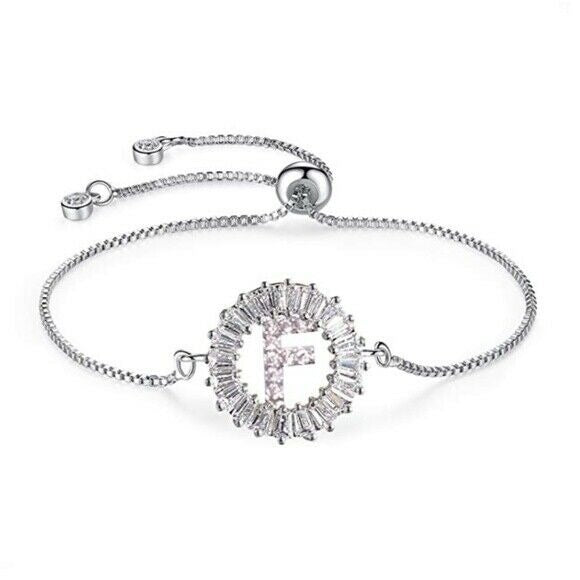 "White Gold Plated Initial ""F"" Letter Cubic Zirconia Adjustable Women's Bracelet"