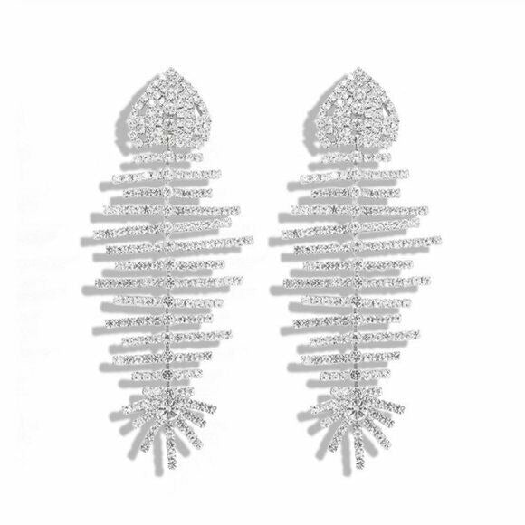 Silver Crystal Sparkly Fish Long Statement Women's Fashion Earrings Party Chic