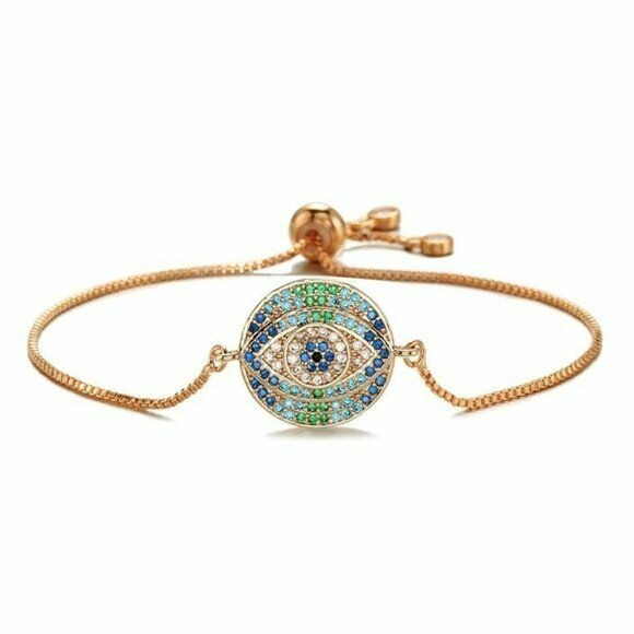 Rose Gold Round Evil Eye Symbol Cubic Zirconia Boho Women's Adjustable Bracelet