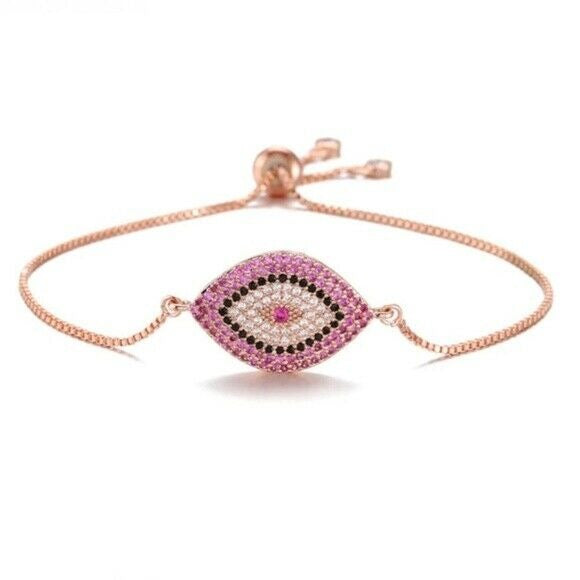 18k Rose Gold Pink Cubic Zirconia Evil Eye Protection Boho Adjustable Bracelet