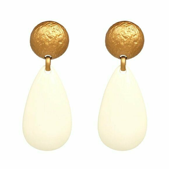 Gold Ivory Round Pear Shaped Retro Long Drop Women's Earrings Elegant Party