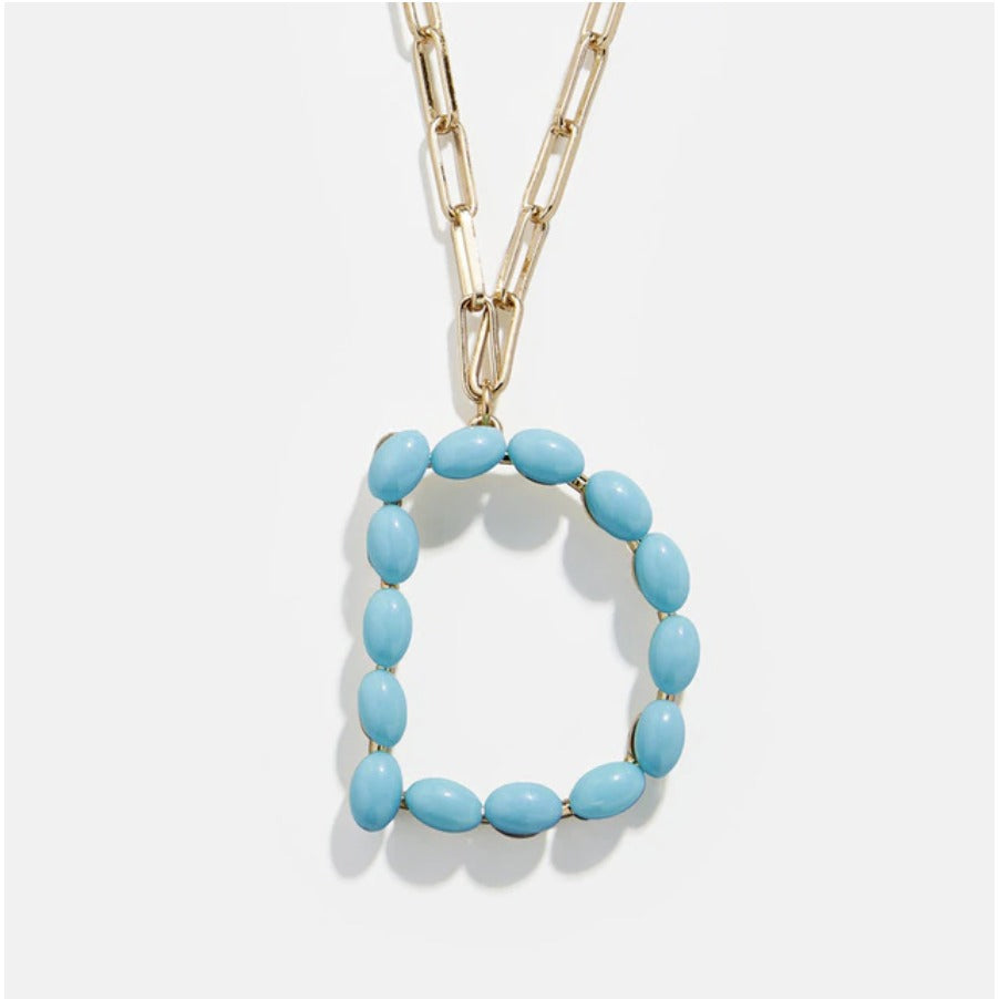 "Blue Bead Paper Clip Chain Initial Letter ""D"" Name Necklace"