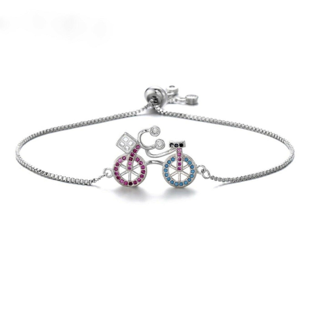 Cute Bike Cycling Hobby Pink Blue Cubic Zirconia Adjustable Silver Bracelet