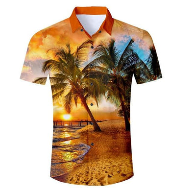 Men's Sunset Palm Beach Button Shirt - Beach Boujee