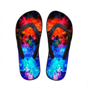 Colorful Galaxy Flip Flops - Beach Boujee