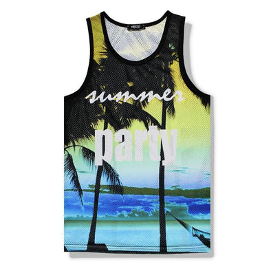 Palm Tree Mesh Tank Top - Beach Boujee