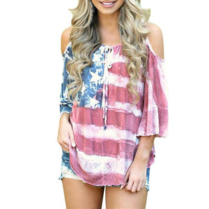 Loose Patriotic Off Shoulder T-Shirt