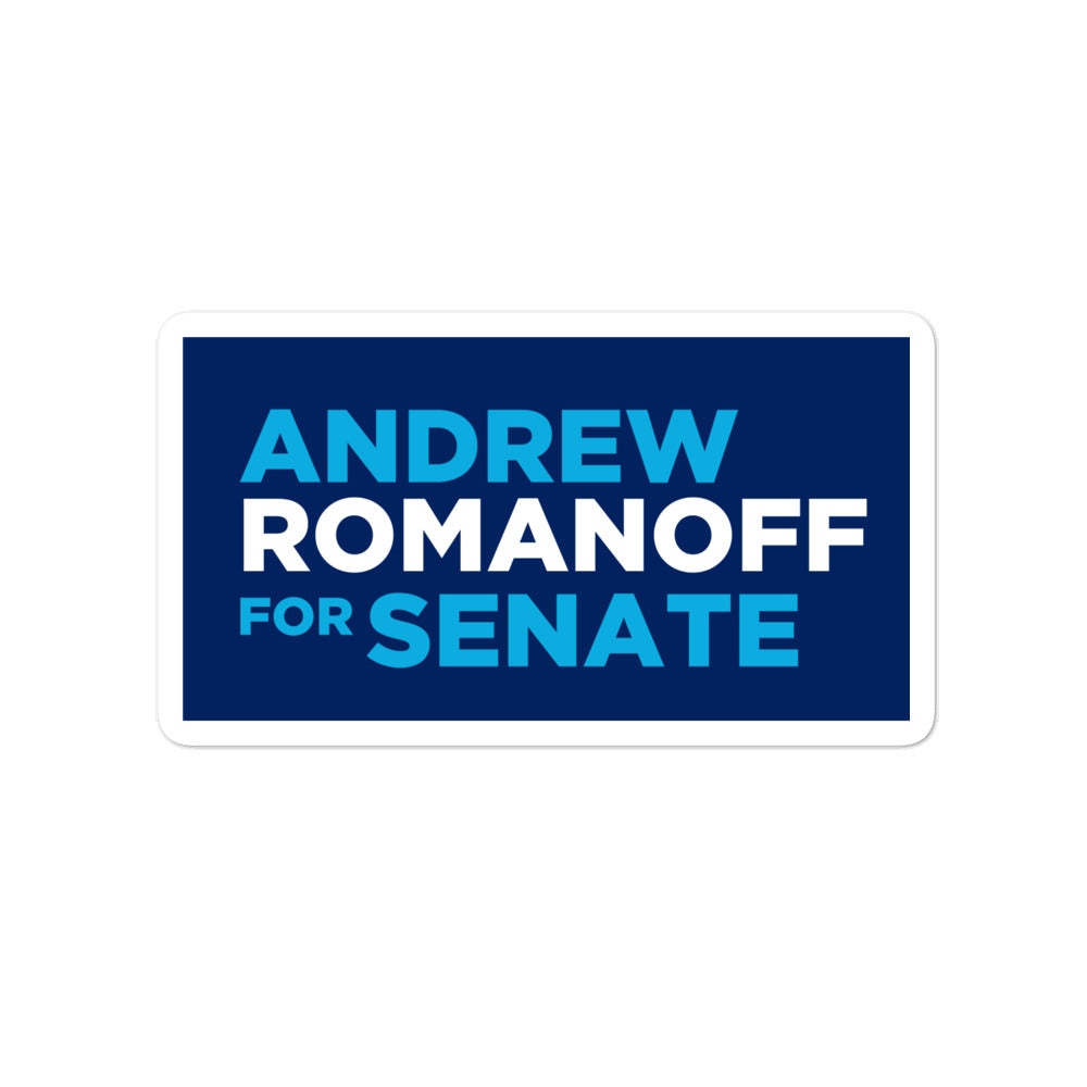 "Andrew Romanoff for Senate 2020 Colorado 4"" sticker"