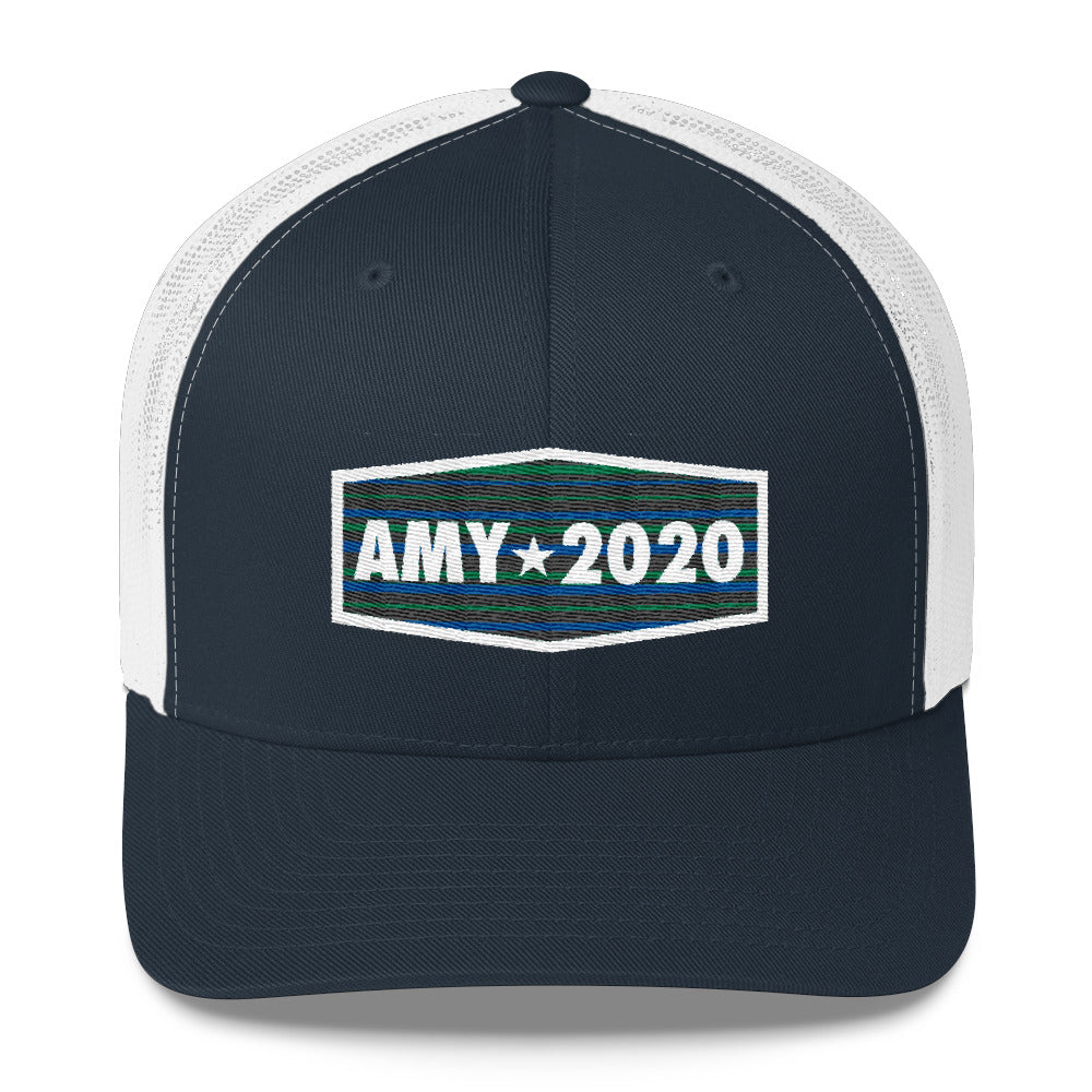 Amy Klobuchar 2020 for president trucker hat white and navy