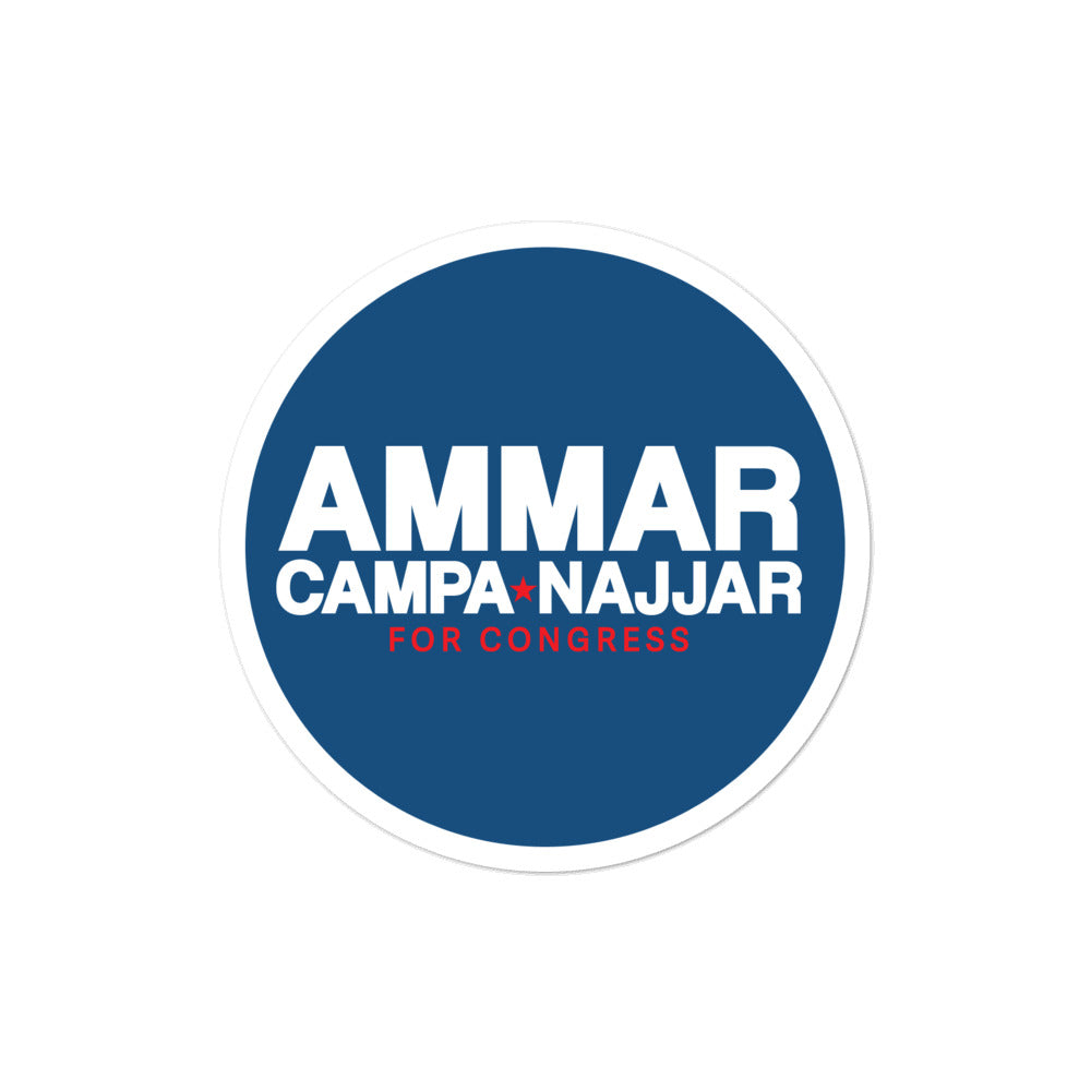 Ammar Campa-Najjar CA-50 for congress 2020 sticker