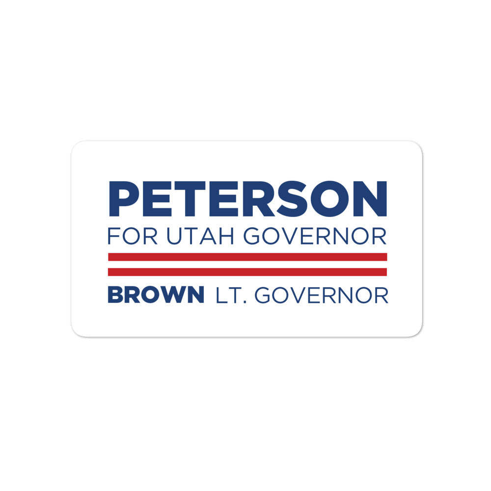 "Chris Peterson For Utah Governor 2020 4"" sticker"