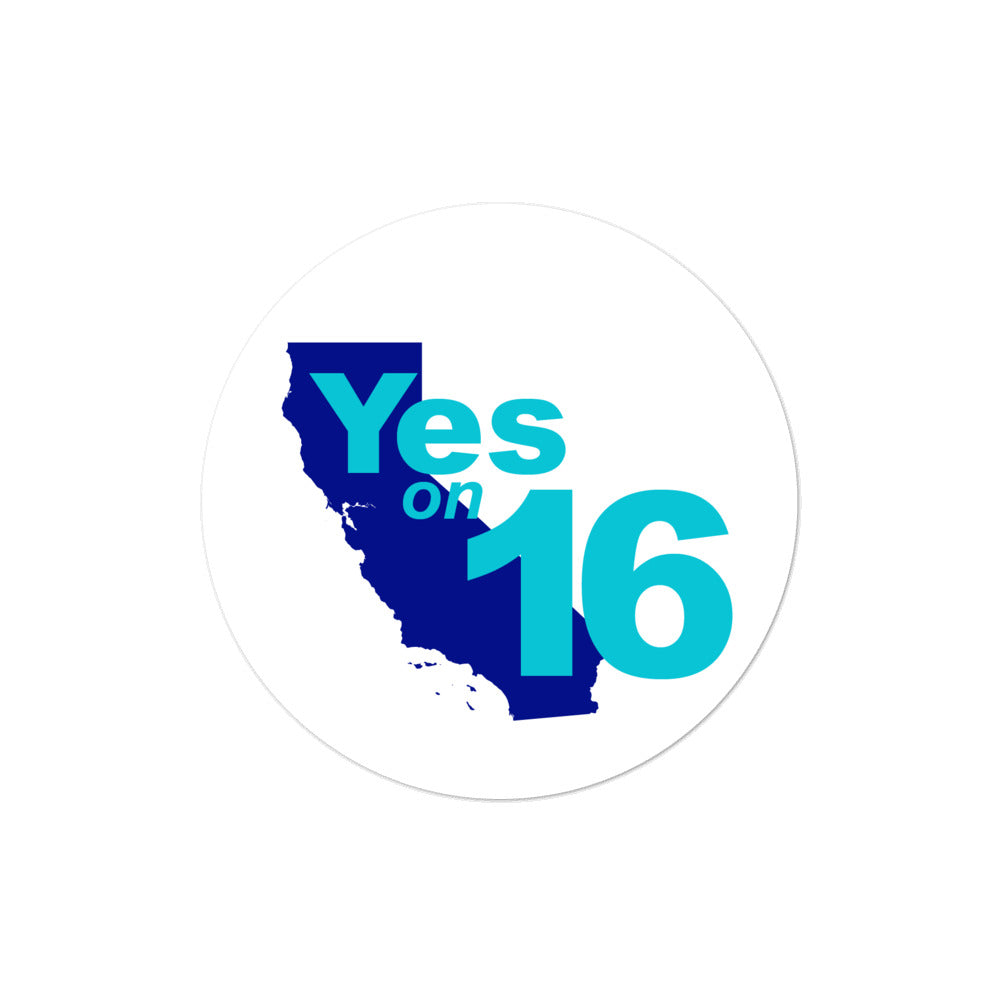 California prop 16 Vote yes on Proposition 16 sticker