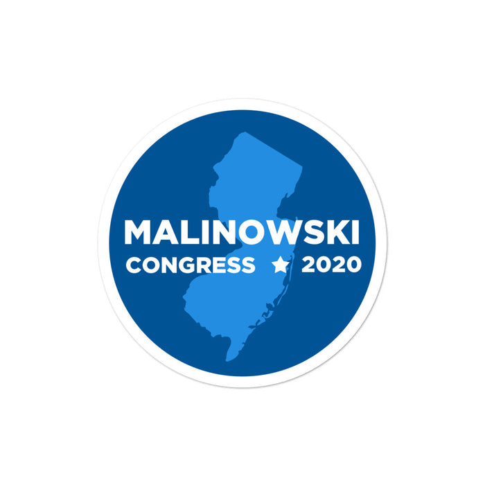 "Tom Malinowski for Congress 2020 4x4"" sticker"
