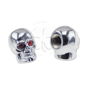 Valve Caps - Skull - Chrome