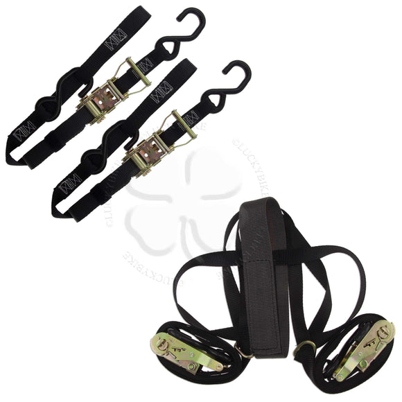 Tie Down - Soft Loop Strap & Tire Strap Kit - ZipStrap Ratchet Black