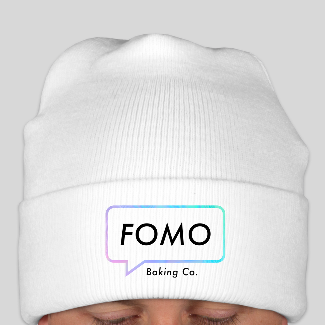 white FOMO beanie (sold out)