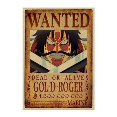 one piece gol d roger wanted poster