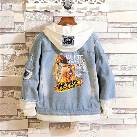 one piece ace jean jacket