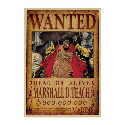 one piece blackbeard wanted poster