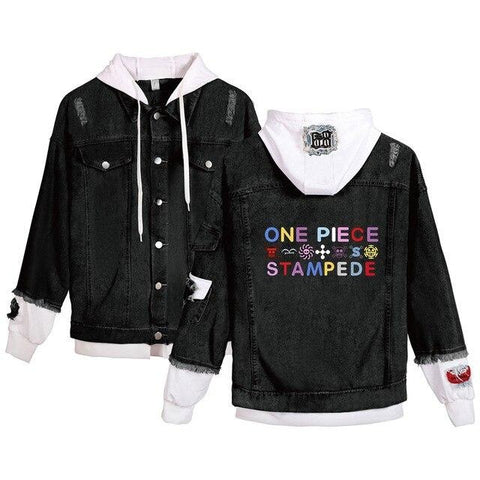 one piece anime jean jacket