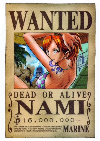 one piece nami wanted poster