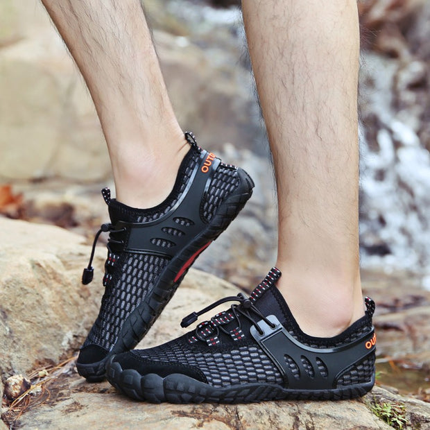 Men's Water Resistant Black Breathable Hiking Shoes