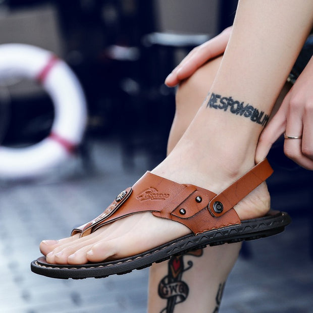 Men's Leather Flat Bottom Flip Flop Sandals Slippers