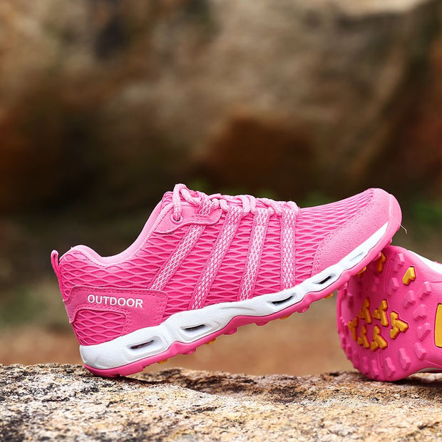 Women's breathable outdoor pink tennis hiking shoes