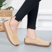 Women's vintage fashion leather flat slip-on loafers