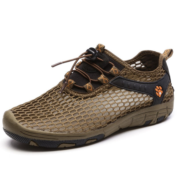 Women's hollowed-out breathable lightweight flat hiking sneakers
