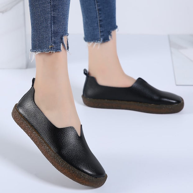 Women's leather simple leisure vintage flat loafers