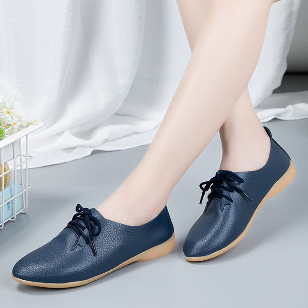 Women's popular leather pretty dressy flat loafers