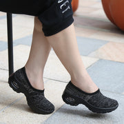 Women's air cushion linen fabric anti-skid fashion heel loafers