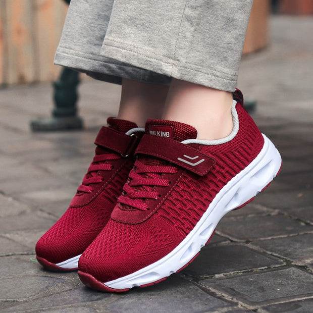 Women's platform cushion breathable buckle sneakers