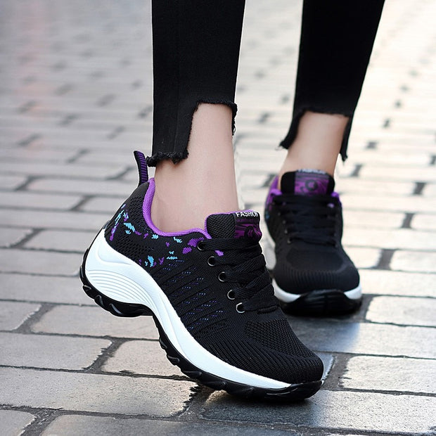 Women's sporty fashion breathable wedge heel sneakers
