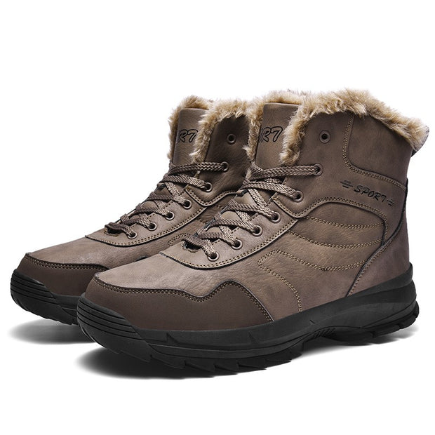 Man's winter thermal plush villi platform high top boots