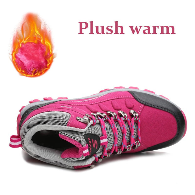 Women's winter fashion anti-skid thermal outdoor hiking sneakers