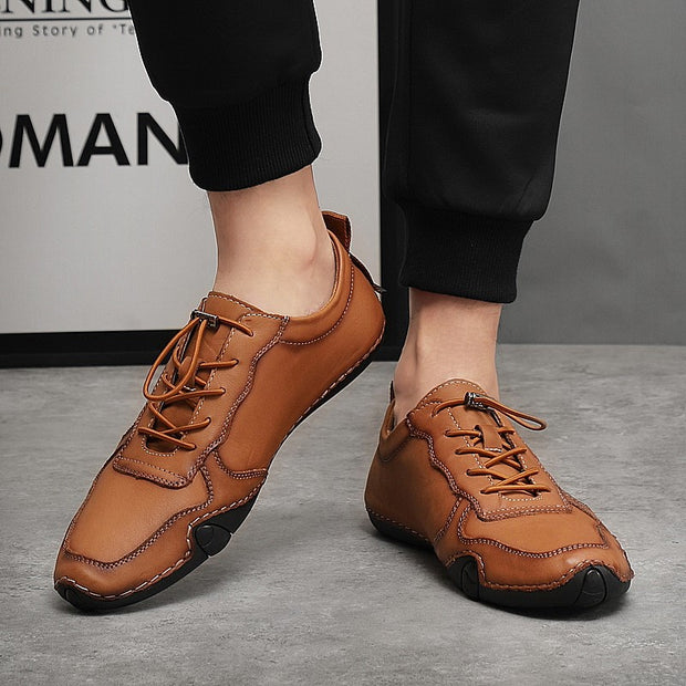 Man's leather vintage joker flat leisure loafers
