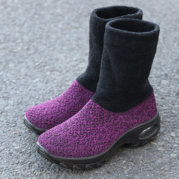 Women's winter thermal stylish non-slip wide sock shoes