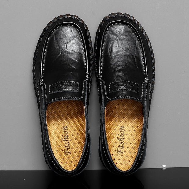 Man's leather vintage fashion joker wide leisure flat loafers